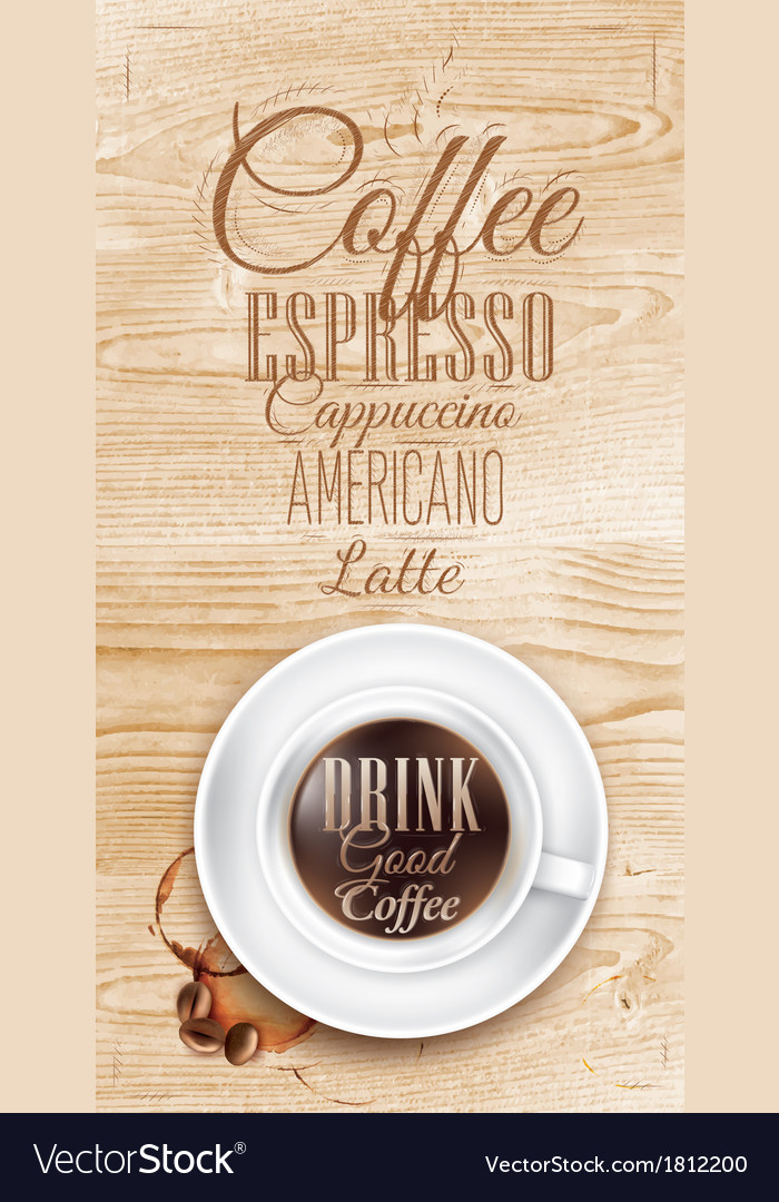 Cup coffee light wood vector | Price: 1 Credit (USD $1)