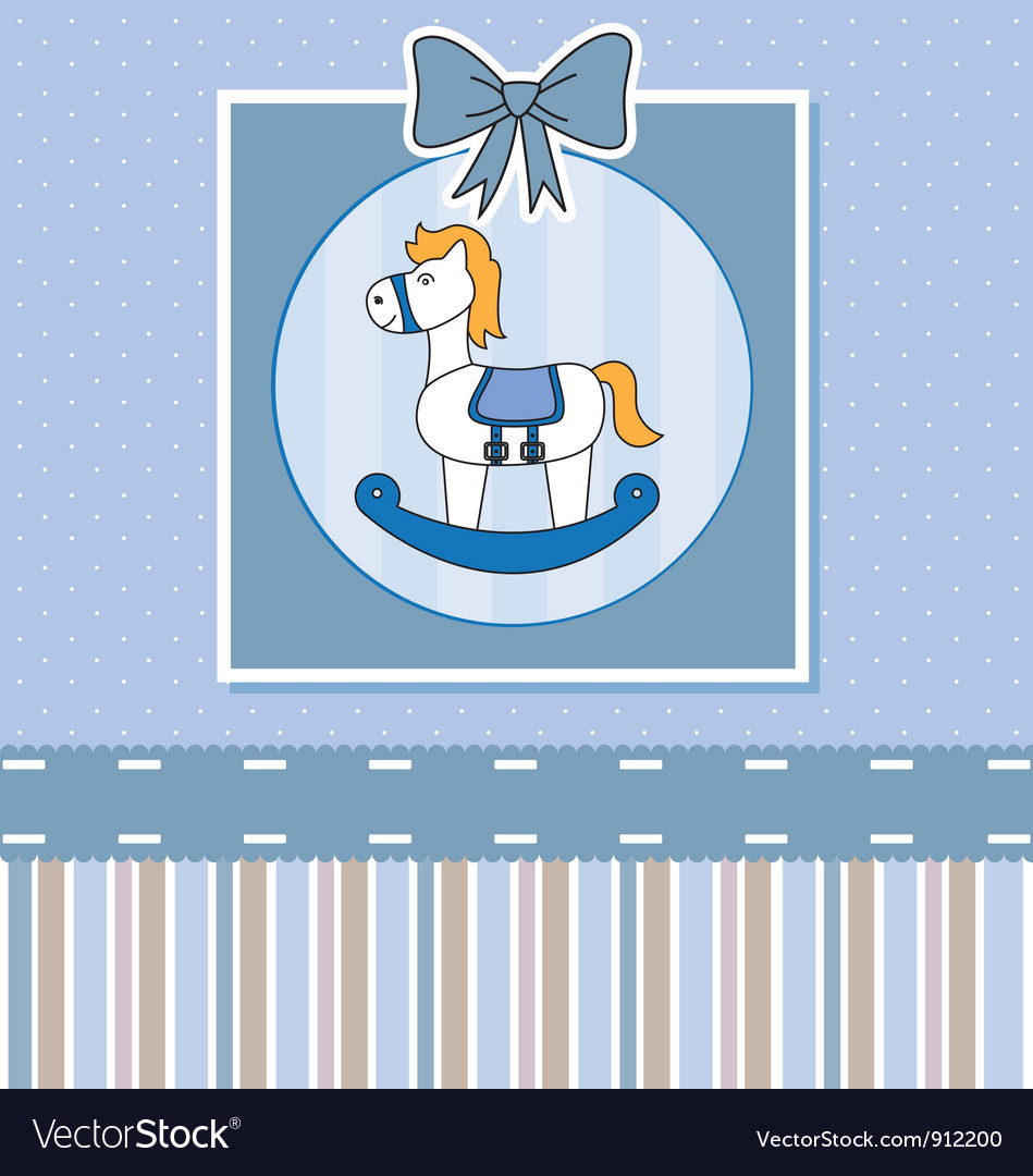 Cute baby card with rocking horse vector | Price: 1 Credit (USD $1)