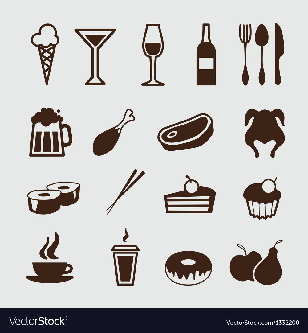 Food and drinks icons vector | Price: 1 Credit (USD $1)