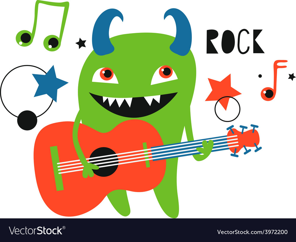 Green monster guitarist vector   Price: 1 Credit (USD $1)