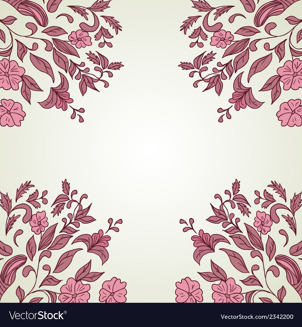 Hand drawn decorative background with flowers vector | Price: 1 Credit (USD $1)