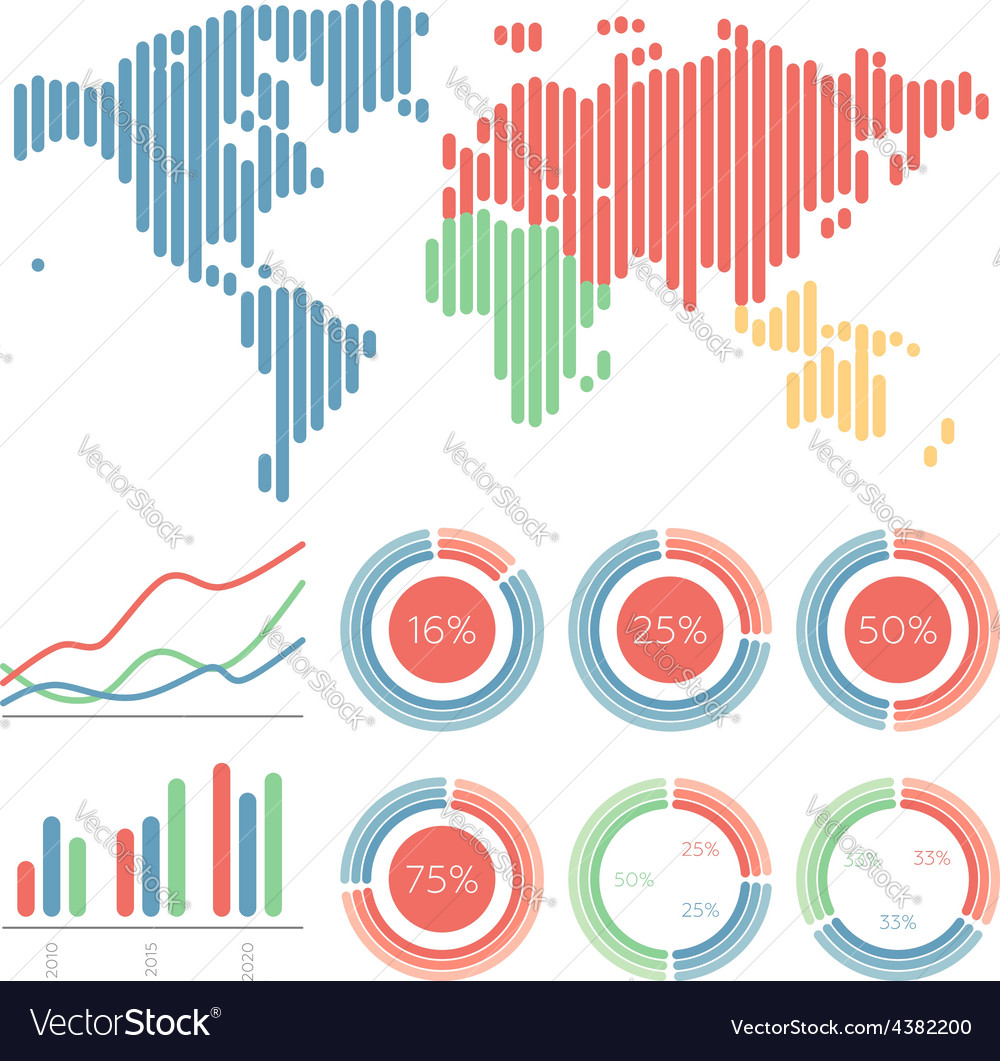 Infographic elements world map vector | Price: 1 Credit (USD $1)
