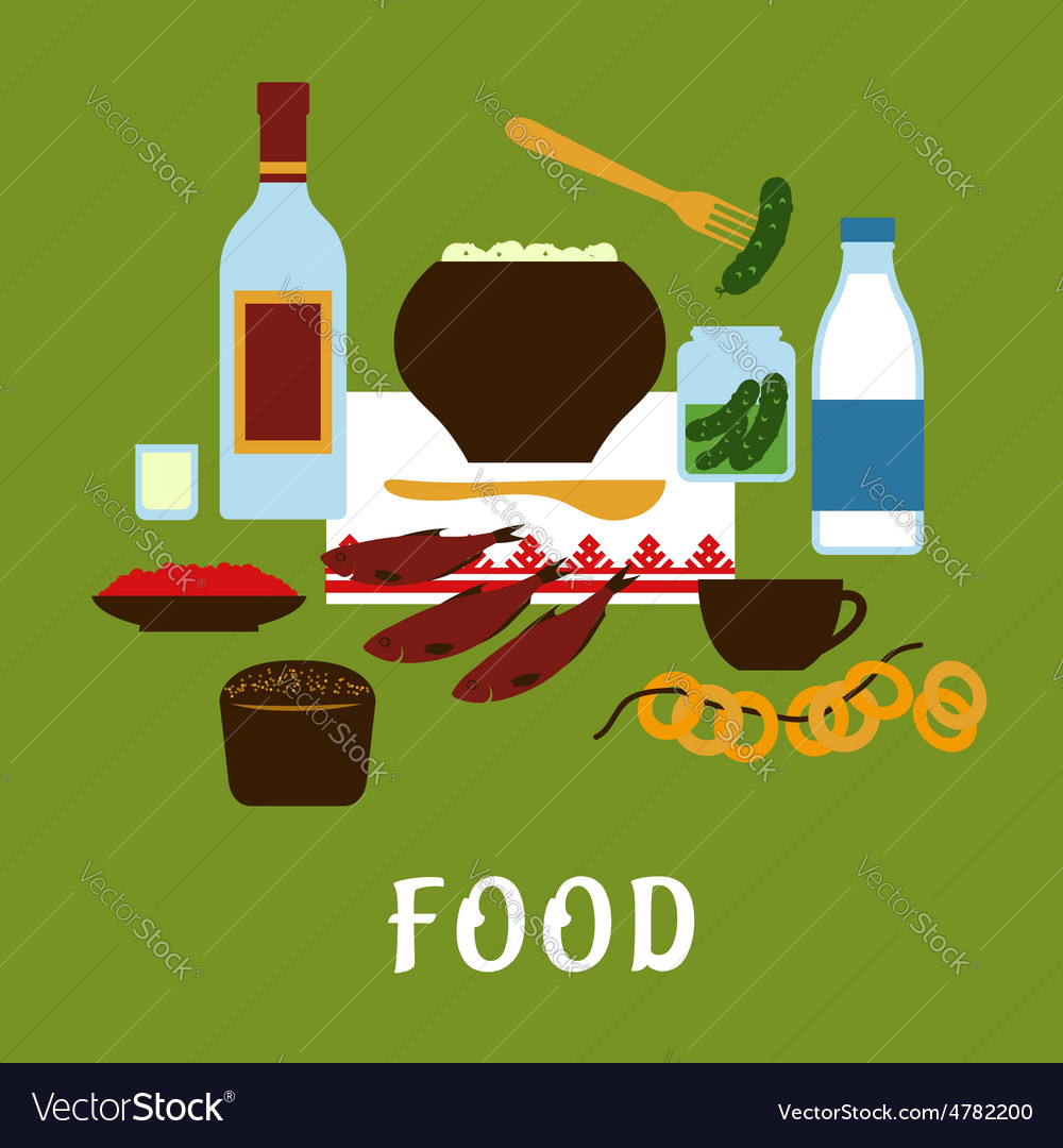 Russian traditional cuisine and food icons vector   Price: 1 Credit (USD $1)