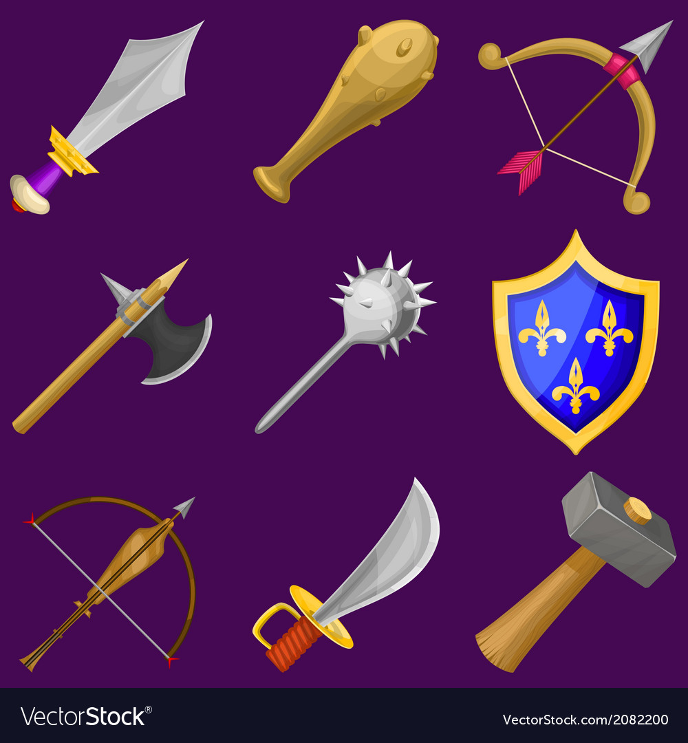 Set of cartoon weapon icons vector | Price: 1 Credit (USD $1)