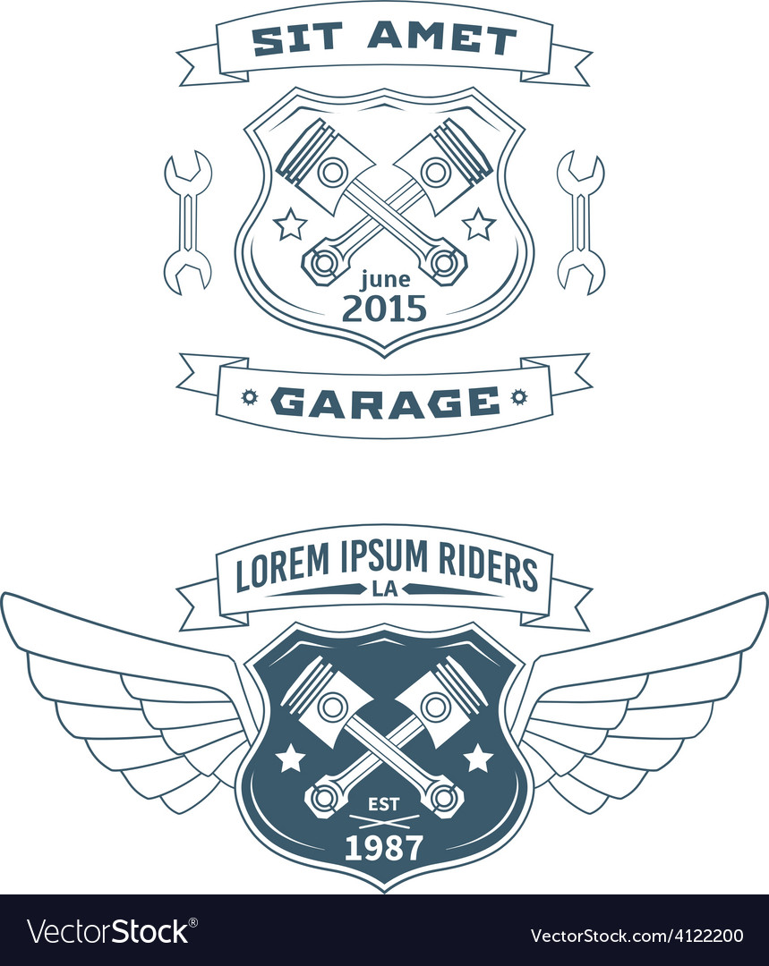 Set of motor badges vector | Price: 1 Credit (USD $1)