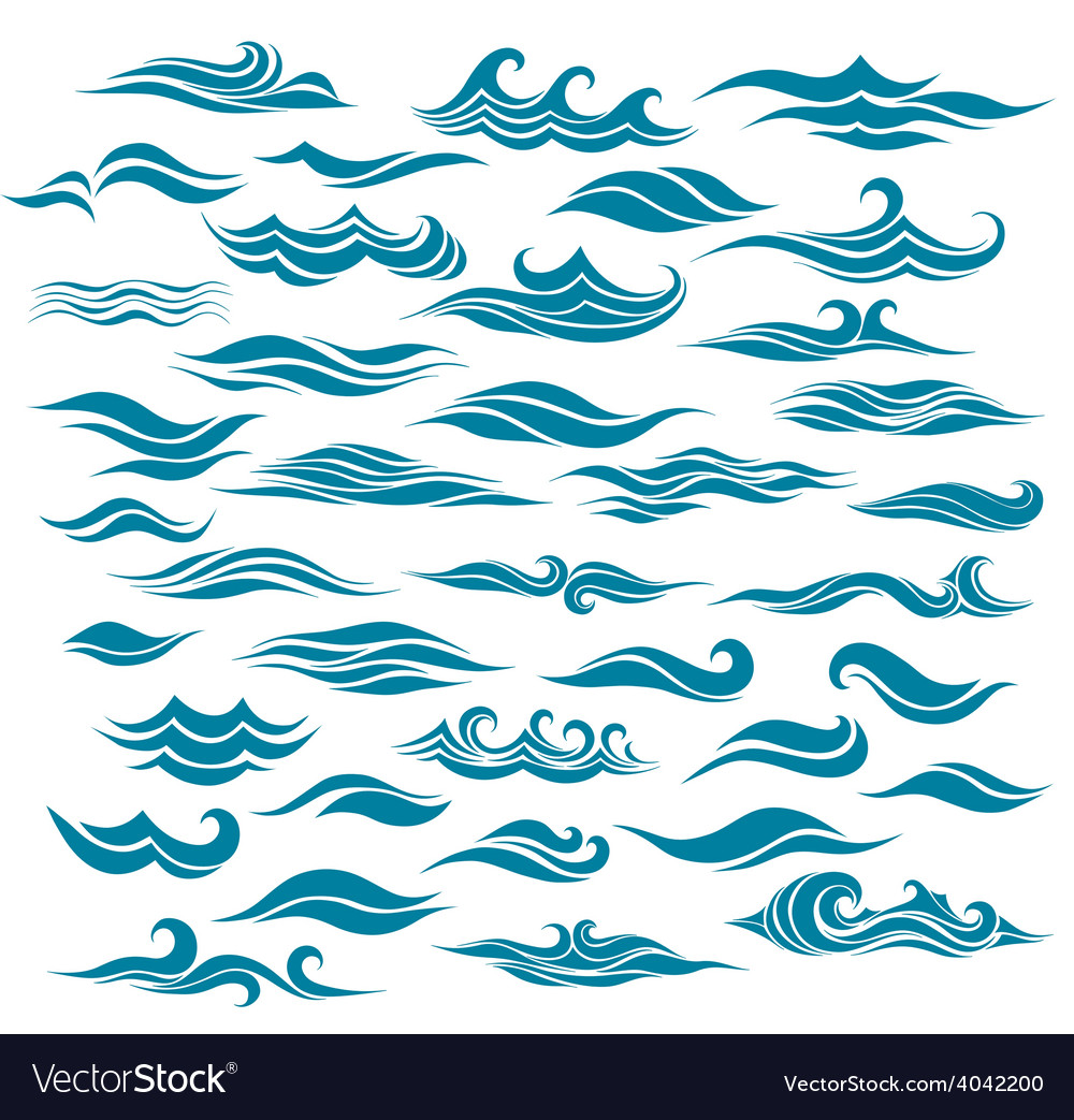 Set stylized waves from element of the design vector | Price: 1 Credit (USD $1)