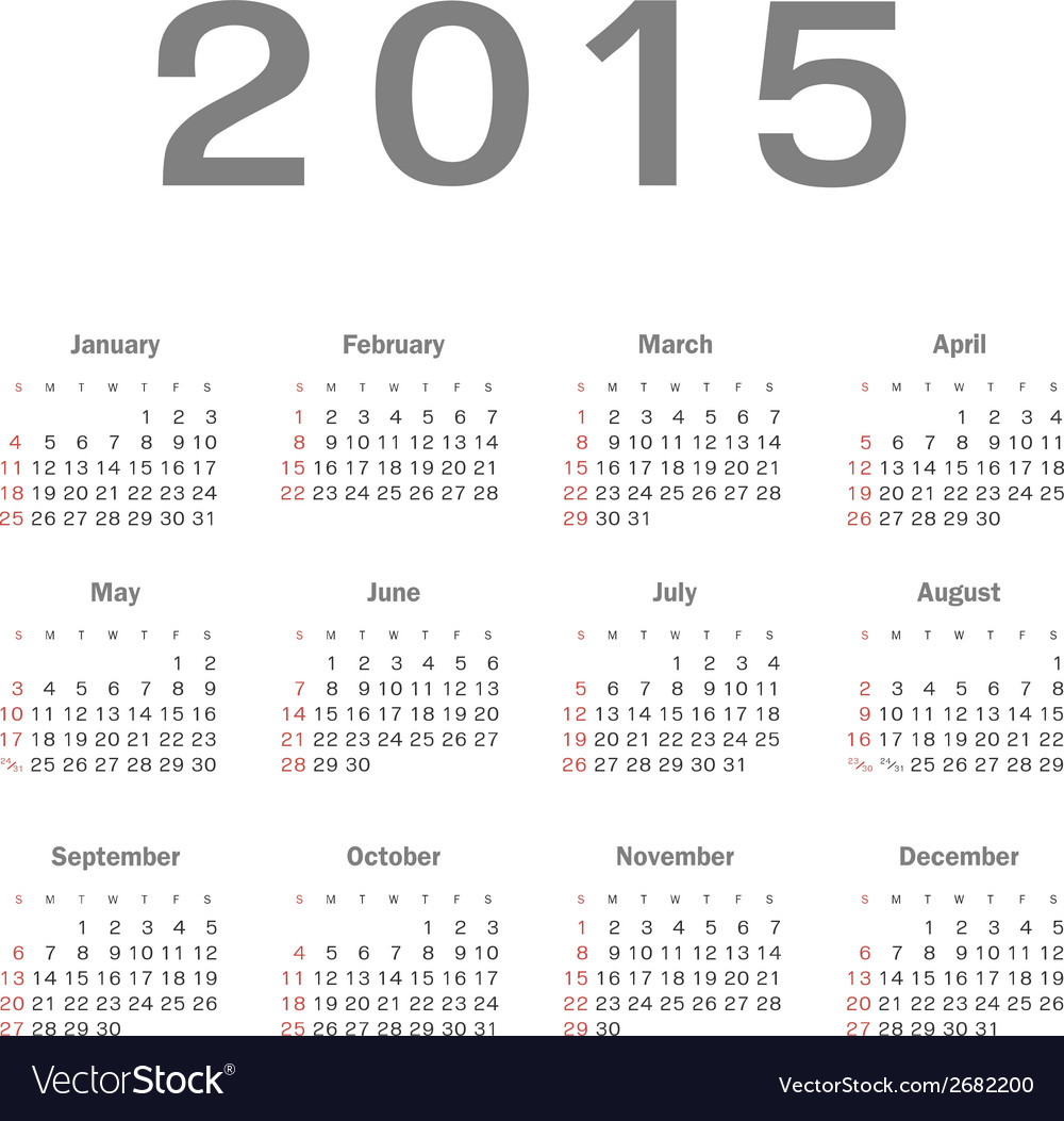 Simple calendar for 2015 year vector   Price: 1 Credit (USD $1)