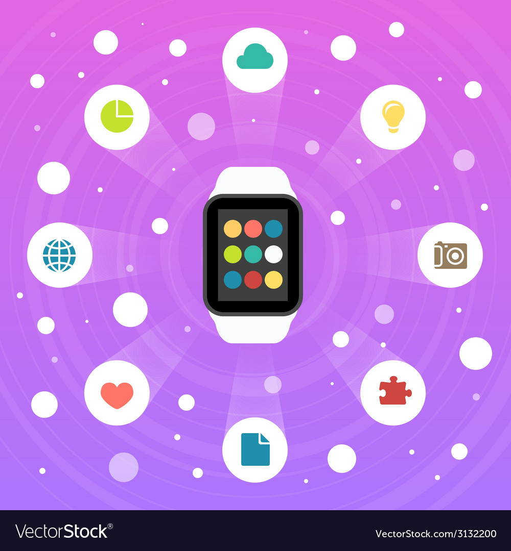Smart watch flat design icon vector | Price: 1 Credit (USD $1)