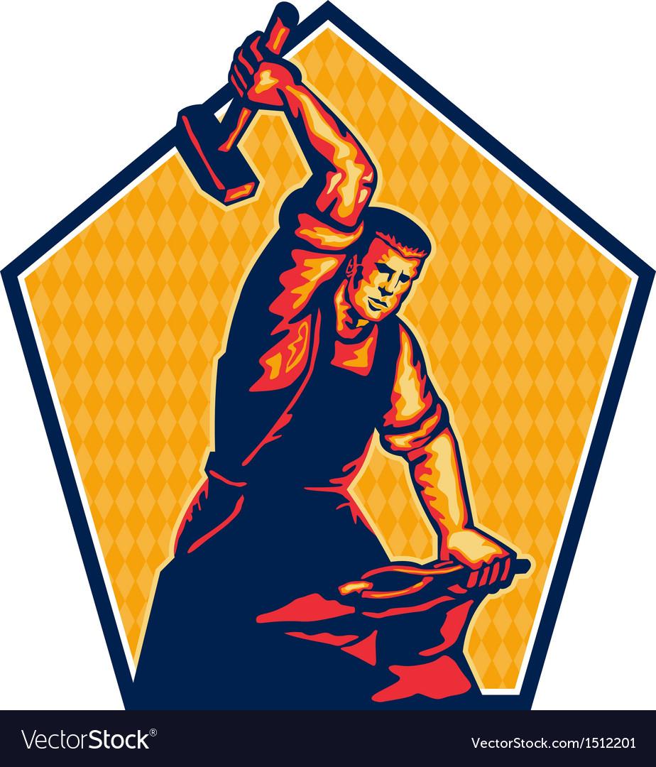 Blacksmith worker striking sledgehammer anvil vector   Price: 1 Credit (USD $1)