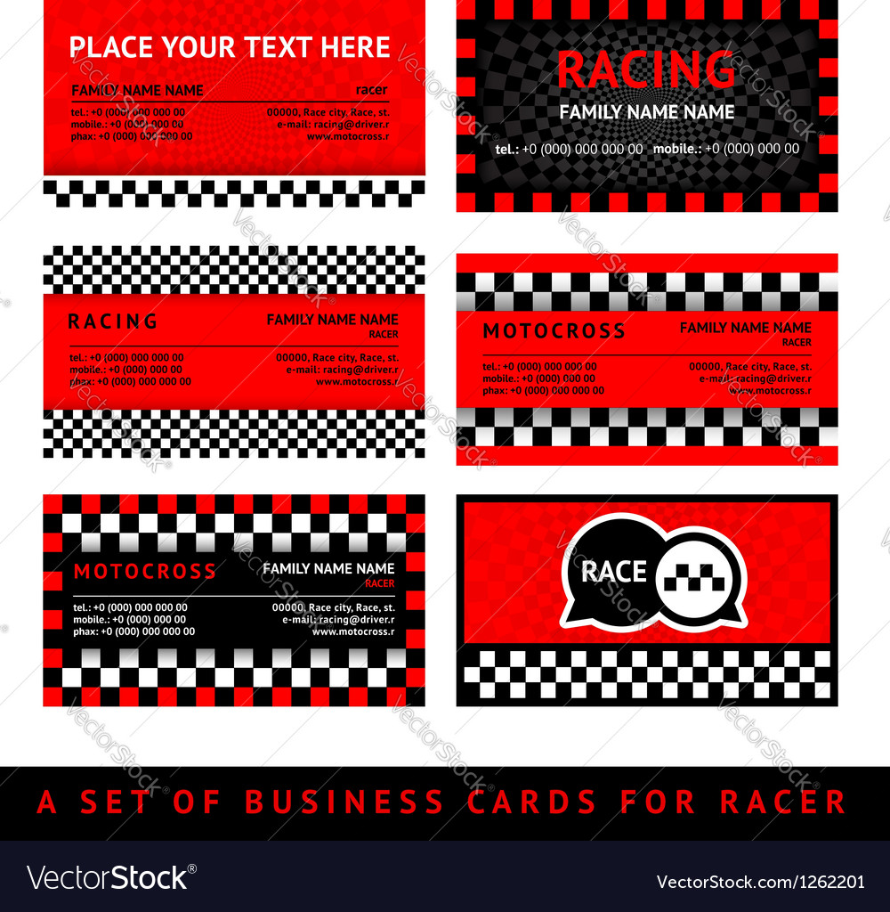 Business card driver race - fifth set vector | Price: 1 Credit (USD $1)