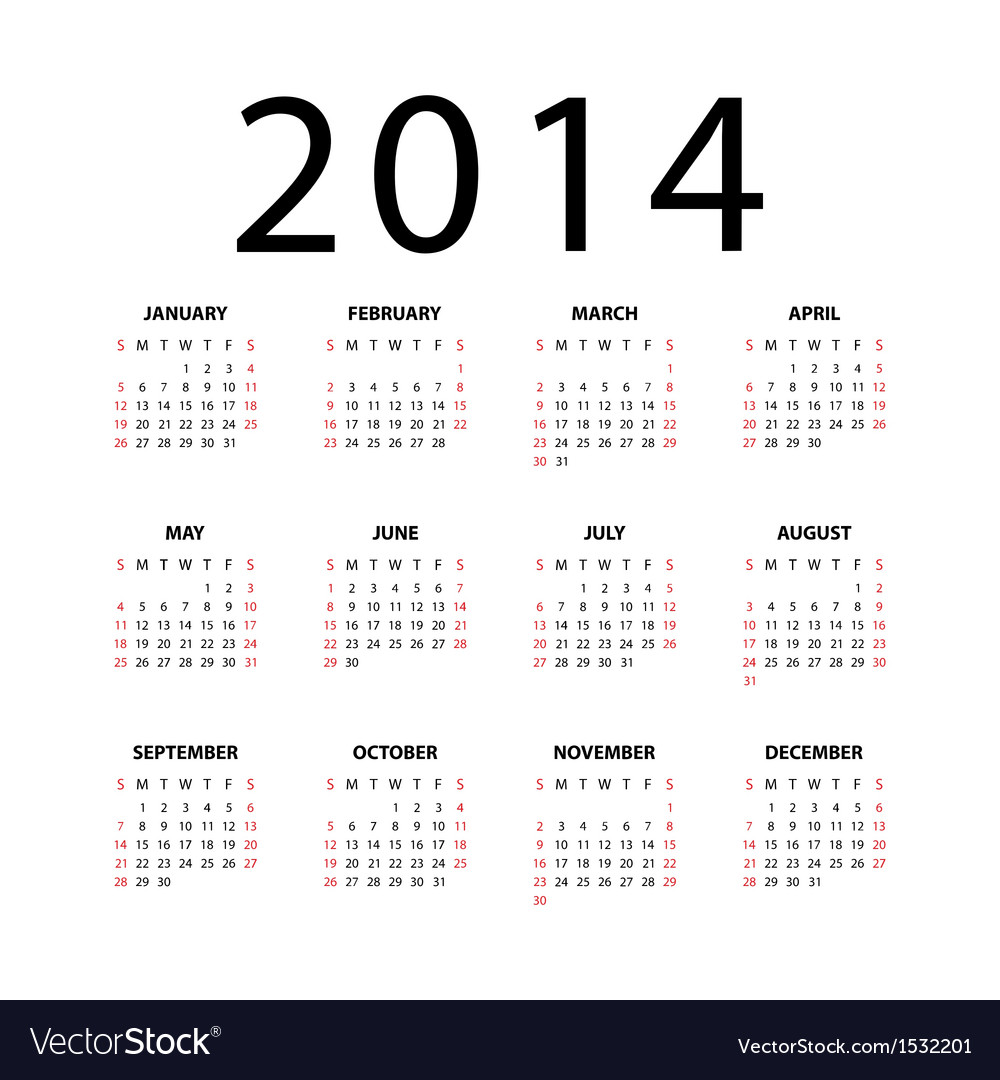 Calendar for 2014 on white background vector | Price: 1 Credit (USD $1)