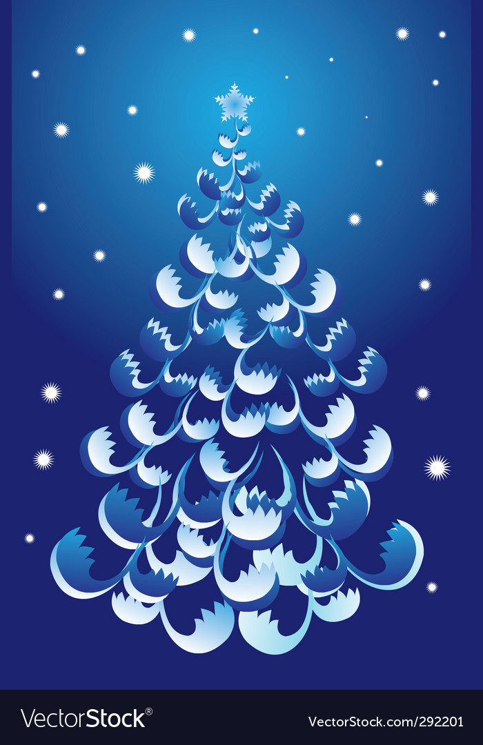 Christmas tree blue vector | Price: 1 Credit (USD $1)