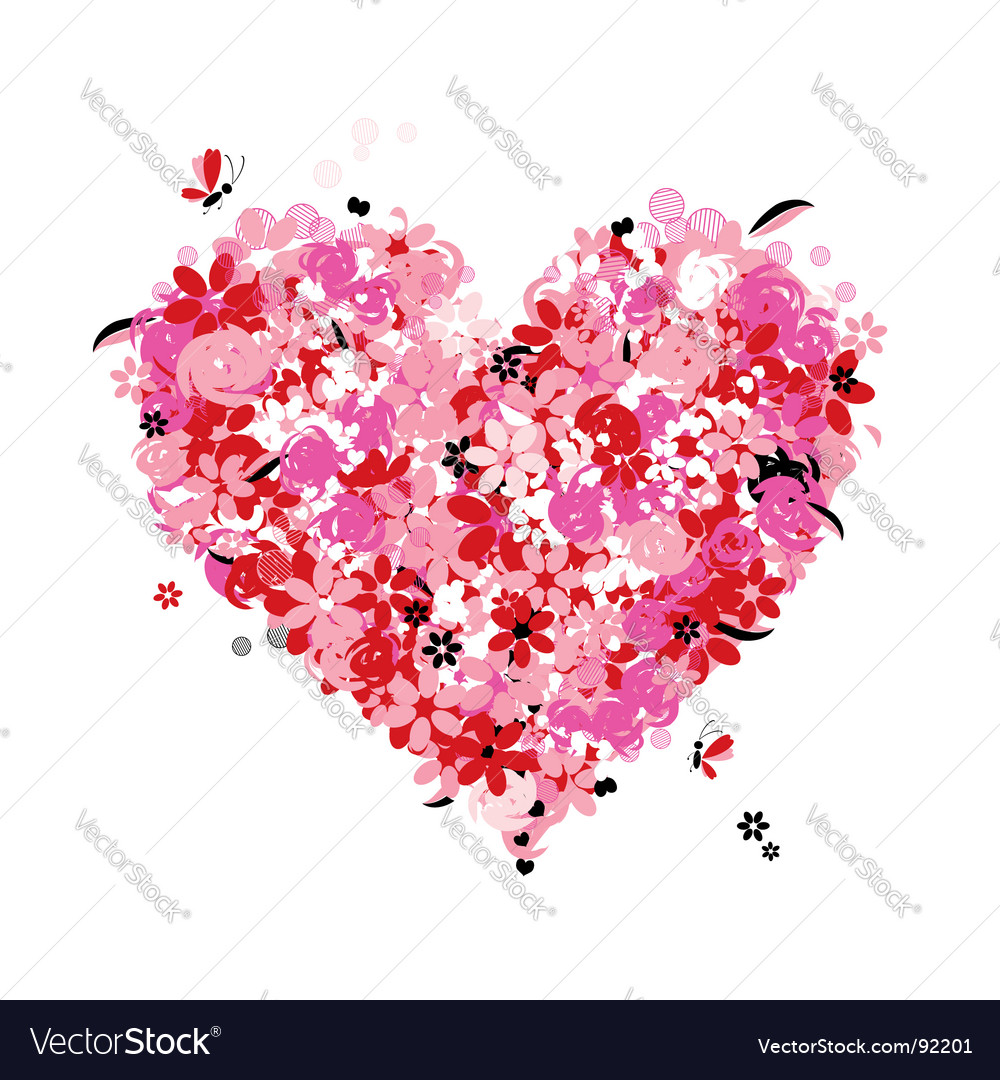 Floral heart shape vector | Price: 1 Credit (USD $1)