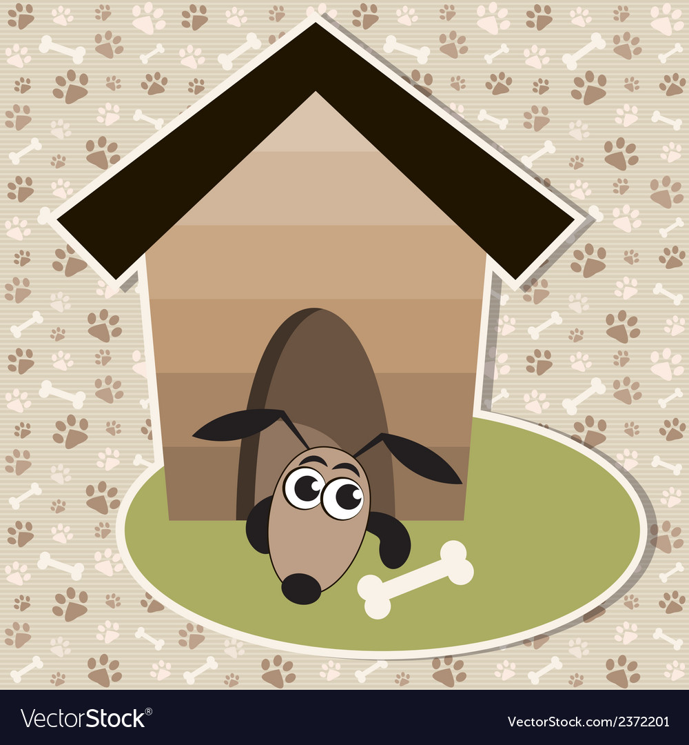 Funny dog in the house vector | Price: 1 Credit (USD $1)