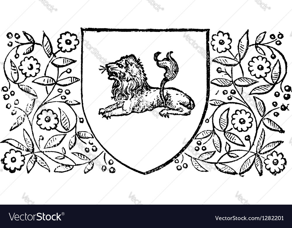 Lion sheild vintage engraving vector | Price: 1 Credit (USD $1)