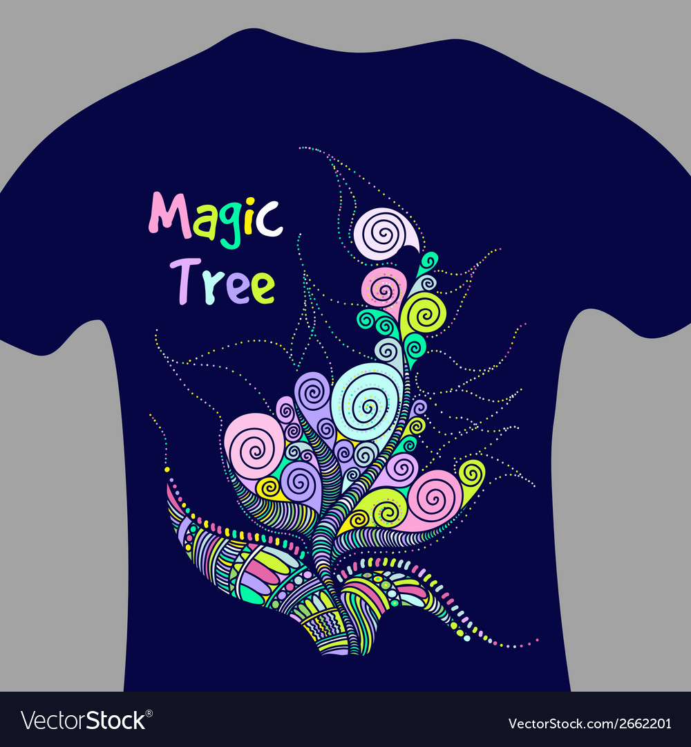 Magic tree - print for t-shirt vector | Price: 1 Credit (USD $1)