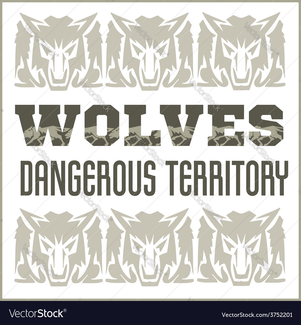 Retro ornament - wolves and inscriptions vector | Price: 1 Credit (USD $1)