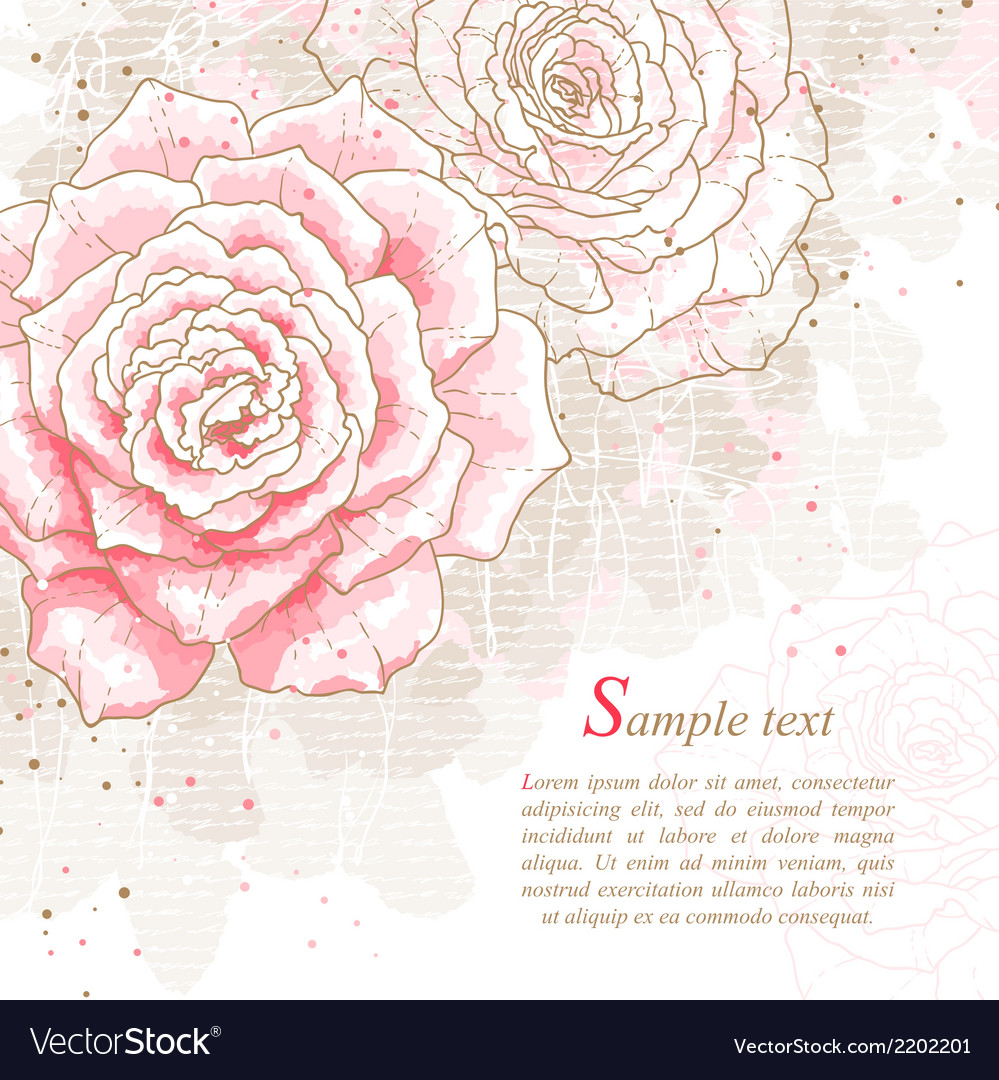 Romantic background with pink roses vector | Price: 1 Credit (USD $1)