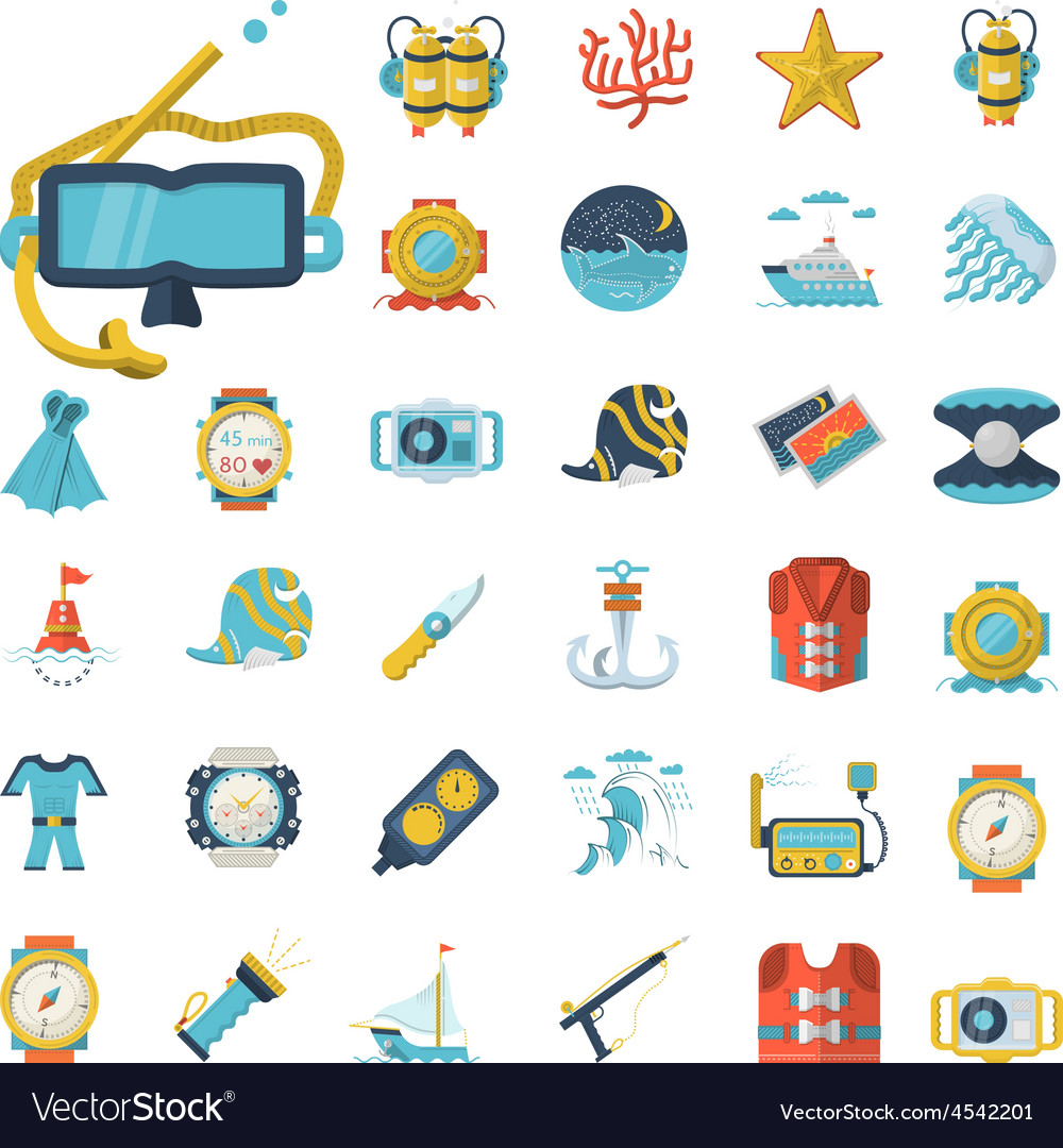 Sea leisure flat icons collection vector | Price: 1 Credit (USD $1)