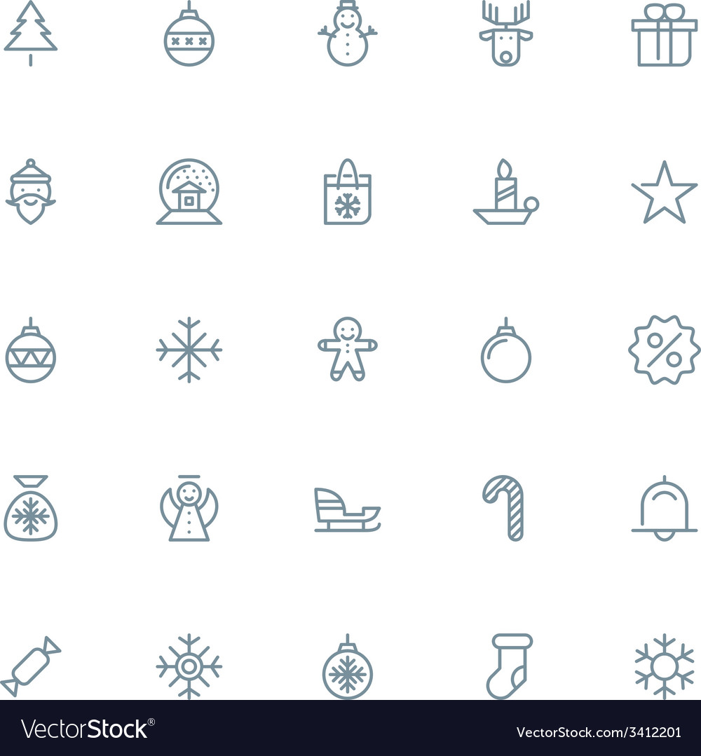 Thin line christmas icons set for web and mobile vector   Price: 1 Credit (USD $1)