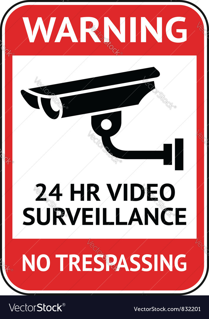 Video surveillance cctv label vector | Price: 1 Credit (USD $1)