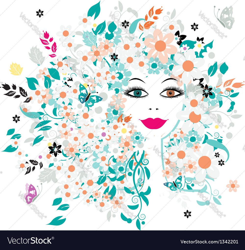 Woman face floral hairstyle for your design vector | Price: 1 Credit (USD $1)
