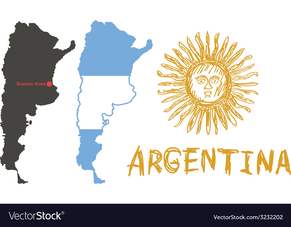 Argentina border shape flag and hand drawn sun vector | Price: 1 Credit (USD $1)