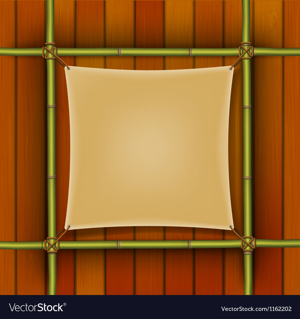 Bamboo frame with parchment banner vector | Price: 1 Credit (USD $1)