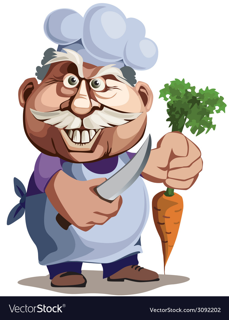 The cook with a knife and carrot vector | Price: 3 Credit (USD $3)