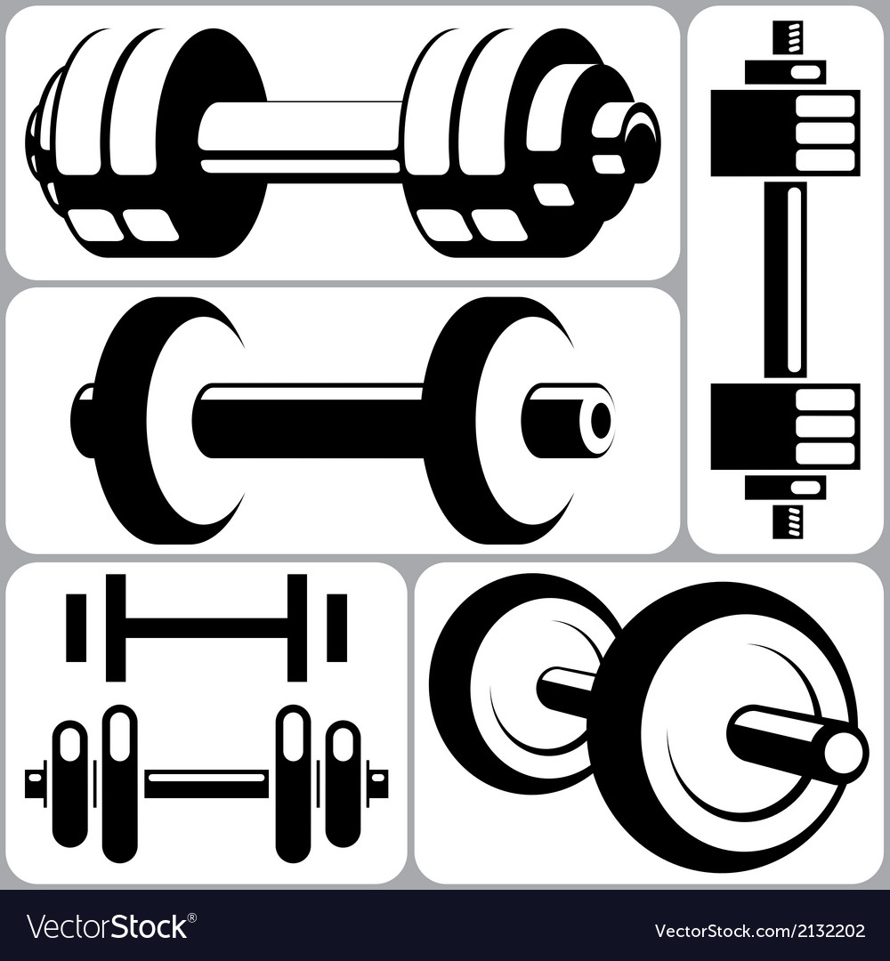 Dumbbell signs set vector | Price: 1 Credit (USD $1)