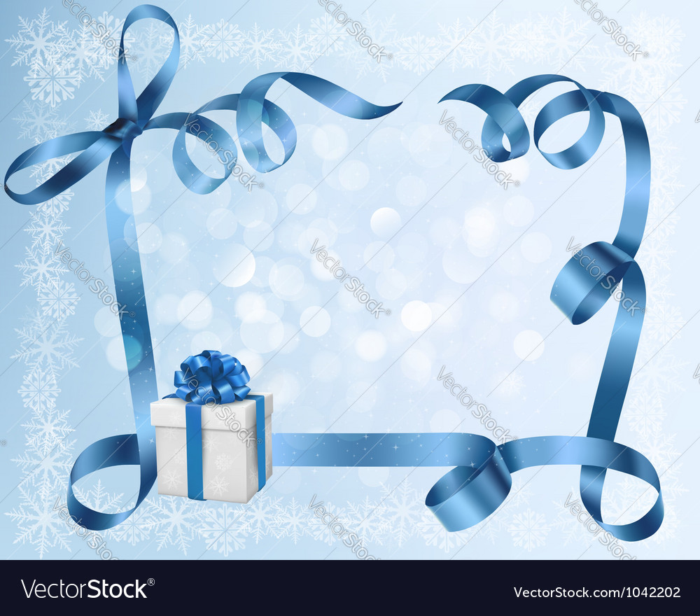 Holiday background with blue gift bow with gift vector | Price: 1 Credit (USD $1)