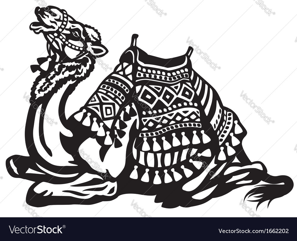 Lying camel with saddle black white vector | Price: 1 Credit (USD $1)