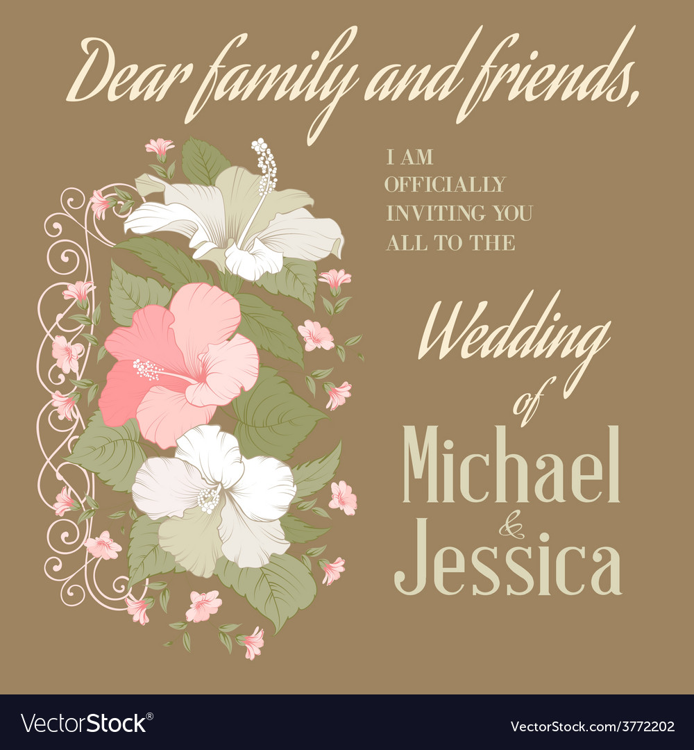 Marriage invitation with gibiscus vector | Price: 1 Credit (USD $1)