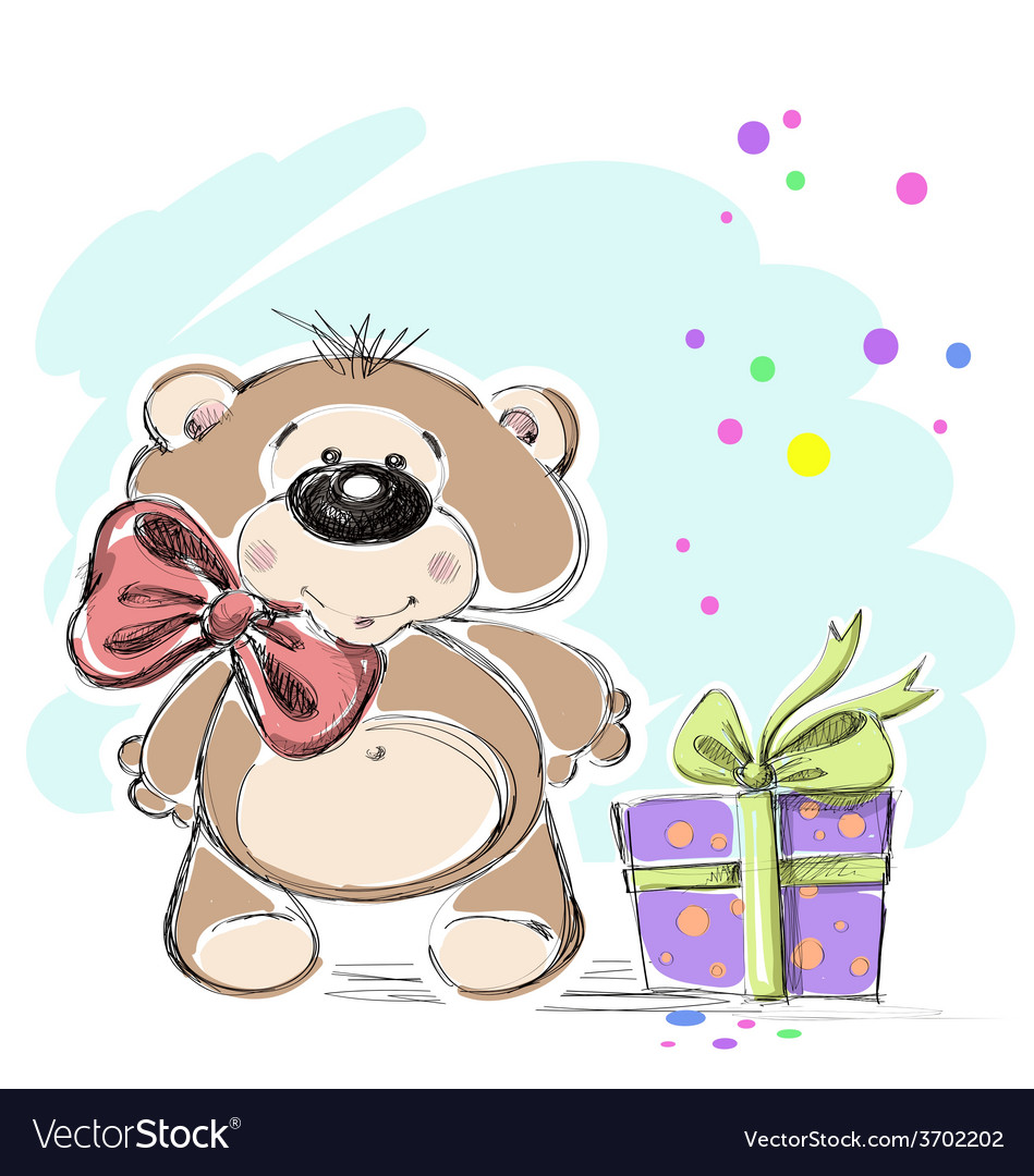 Nice little bear cub with a gift vector | Price: 1 Credit (USD $1)