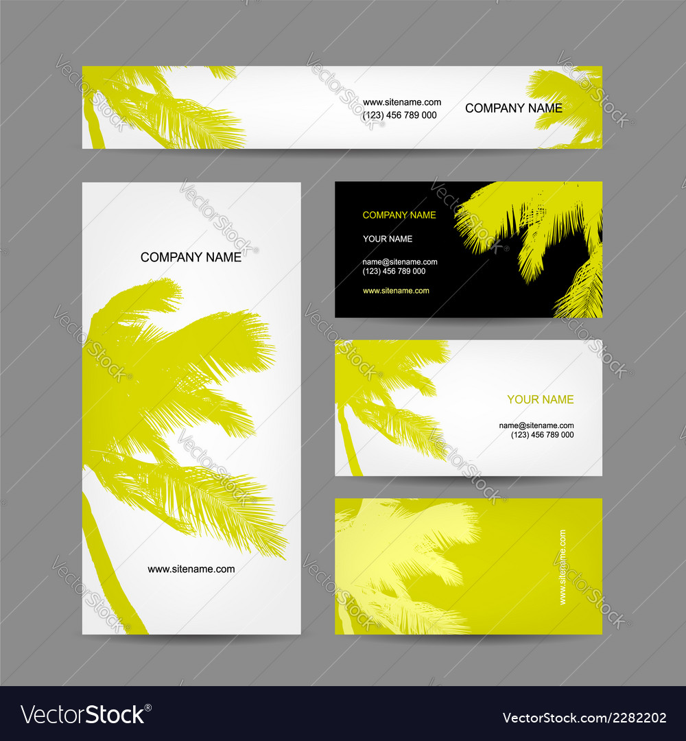 Set of business cards design palm tree vector | Price: 1 Credit (USD $1)