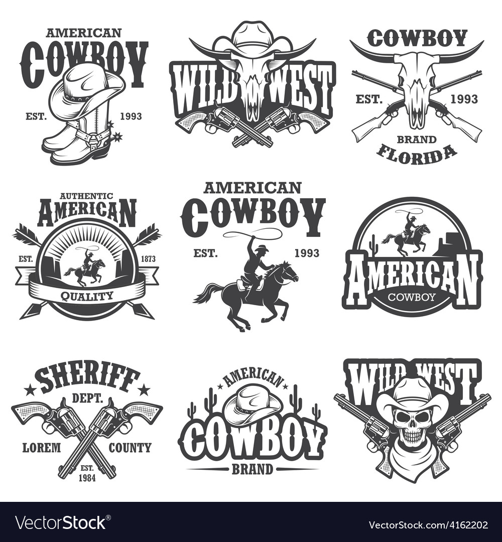 Set of vintage cowboy emblems vector | Price: 3 Credit (USD $3)
