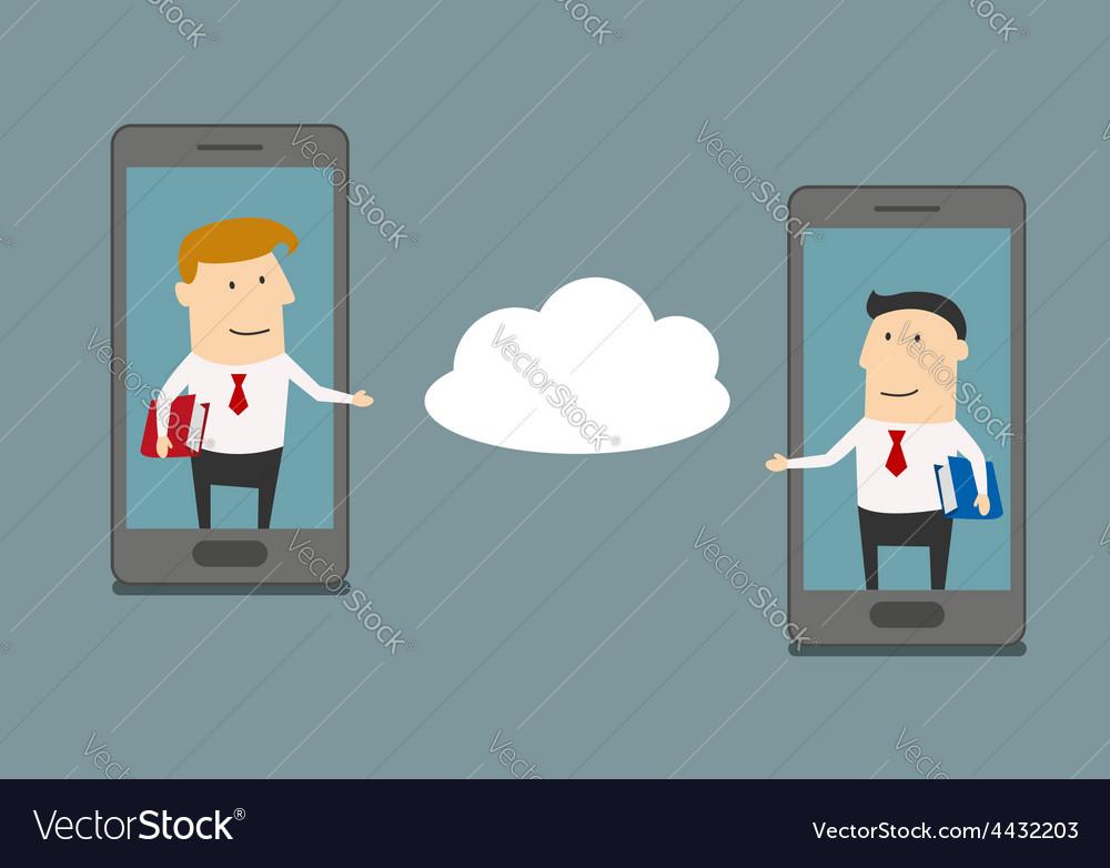 Businessmen exchange information via cloud service vector | Price: 1 Credit (USD $1)