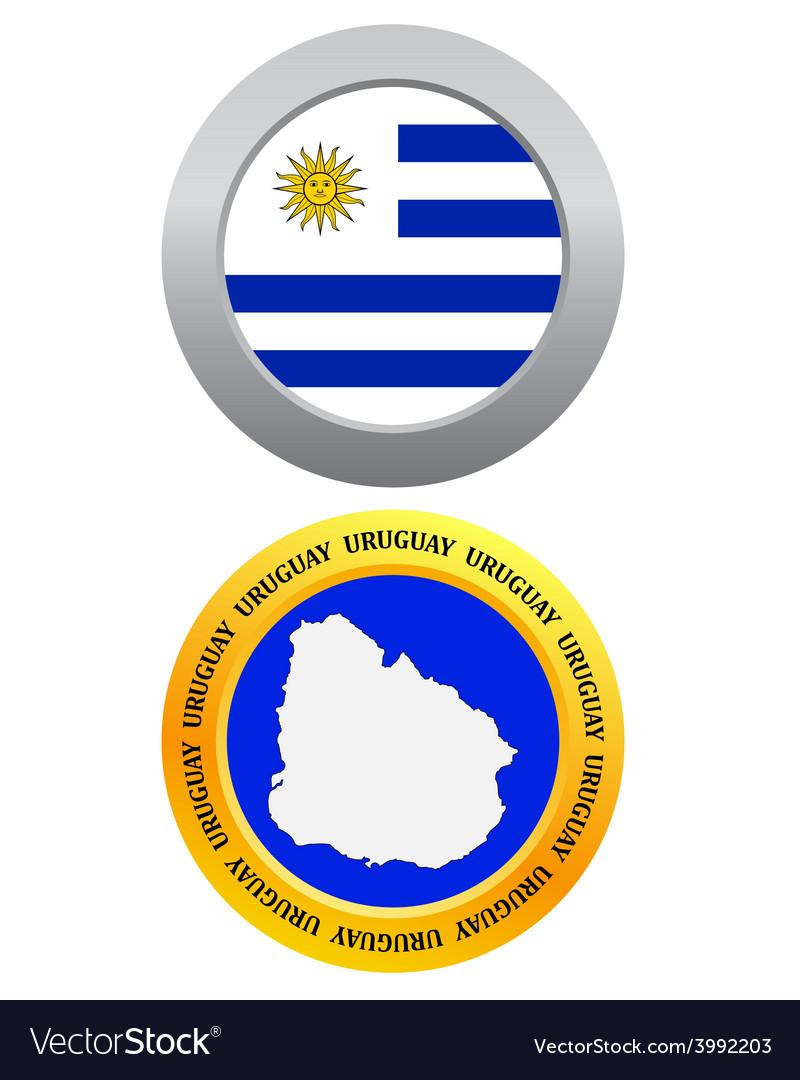 Button as a symbol map uruguay vector | Price: 1 Credit (USD $1)