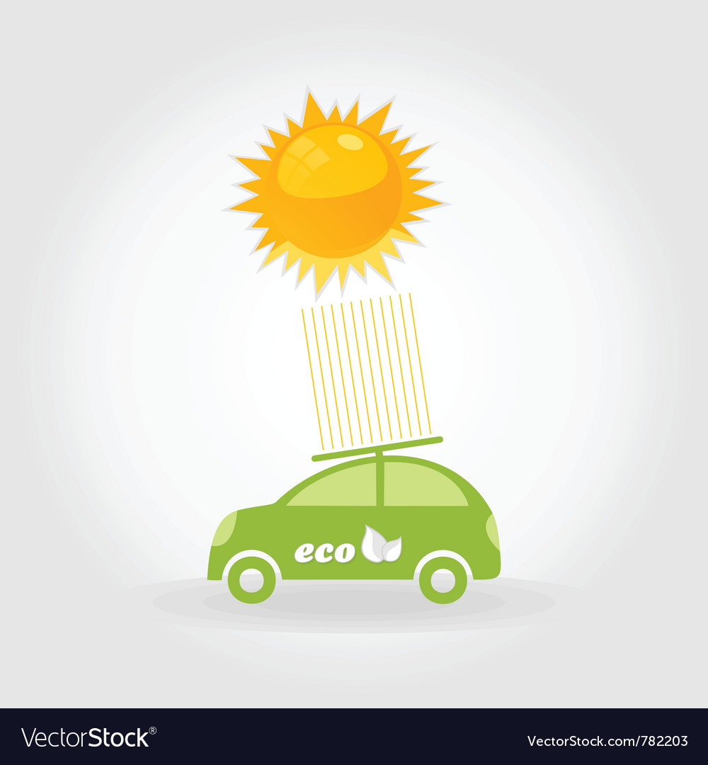 Car on solar batteries vector | Price: 1 Credit (USD $1)