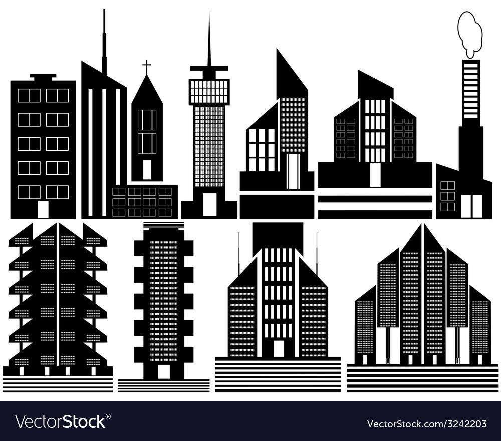 Different high rise homes vector | Price: 1 Credit (USD $1)