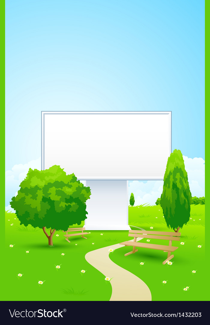 Empty billboard in the park vector | Price: 3 Credit (USD $3)