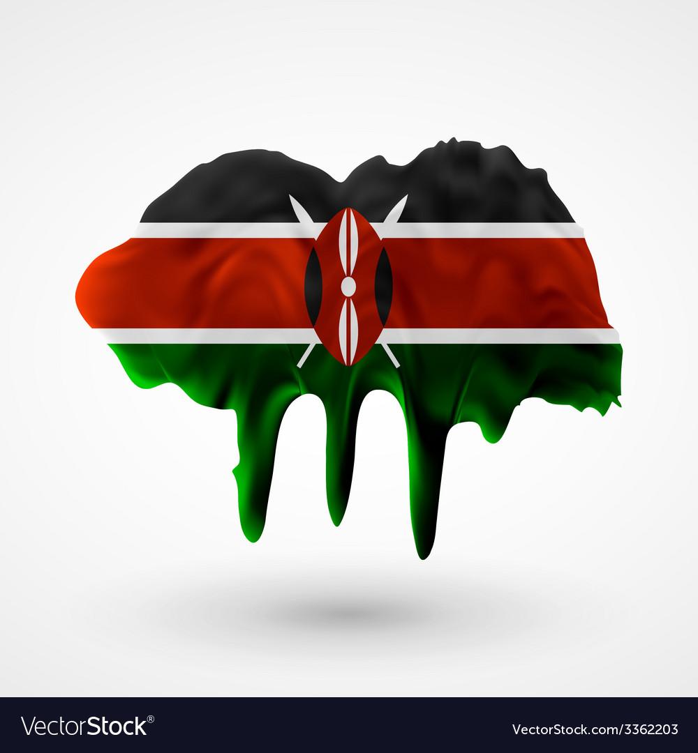 Flag of kenya painted colors vector | Price: 3 Credit (USD $3)