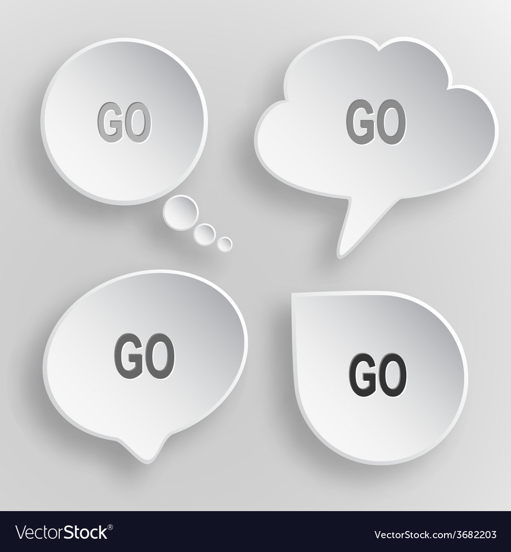 Go white flat buttons on gray background vector | Price: 1 Credit (USD $1)