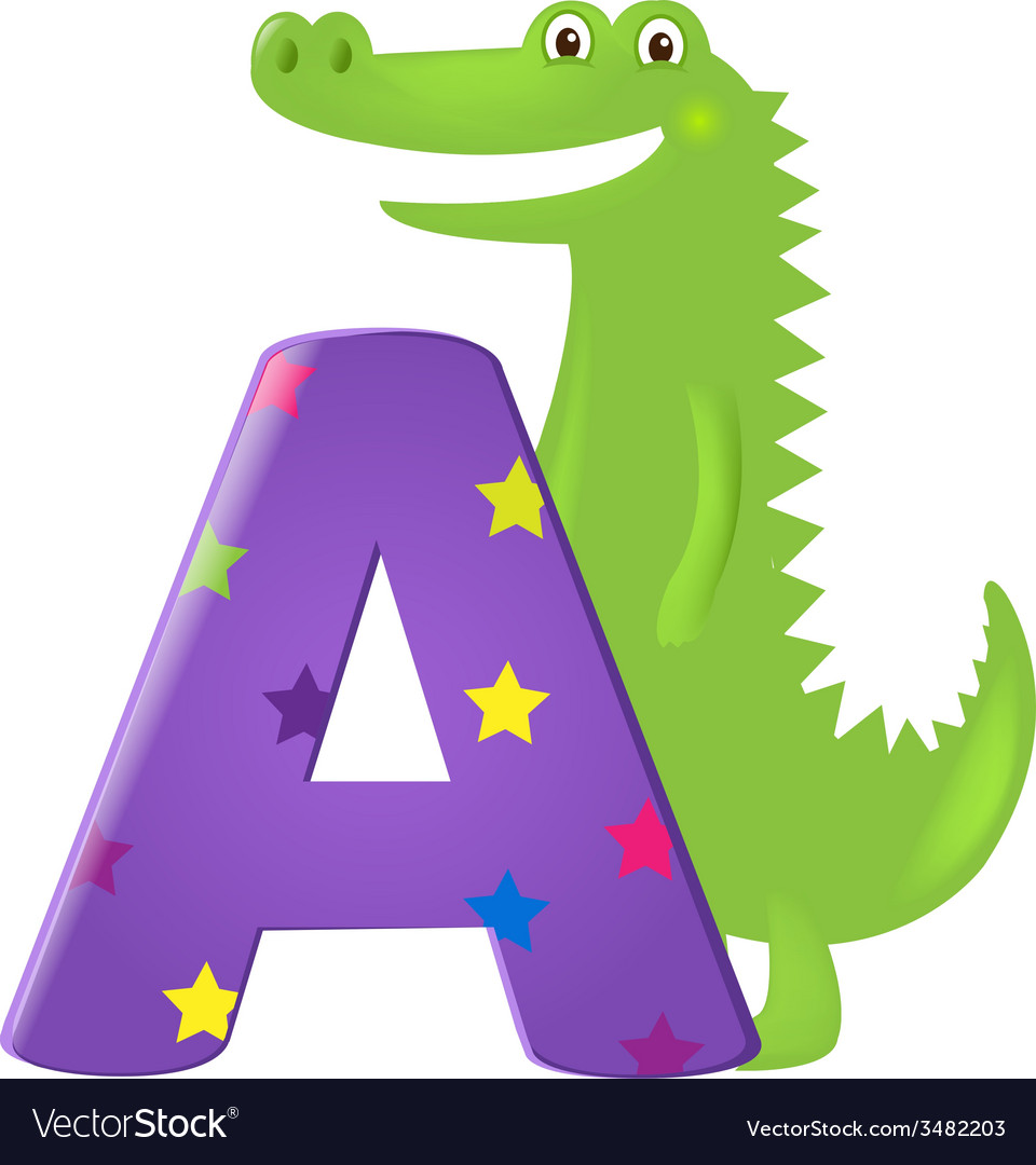 Green alligator with letter vector | Price: 1 Credit (USD $1)
