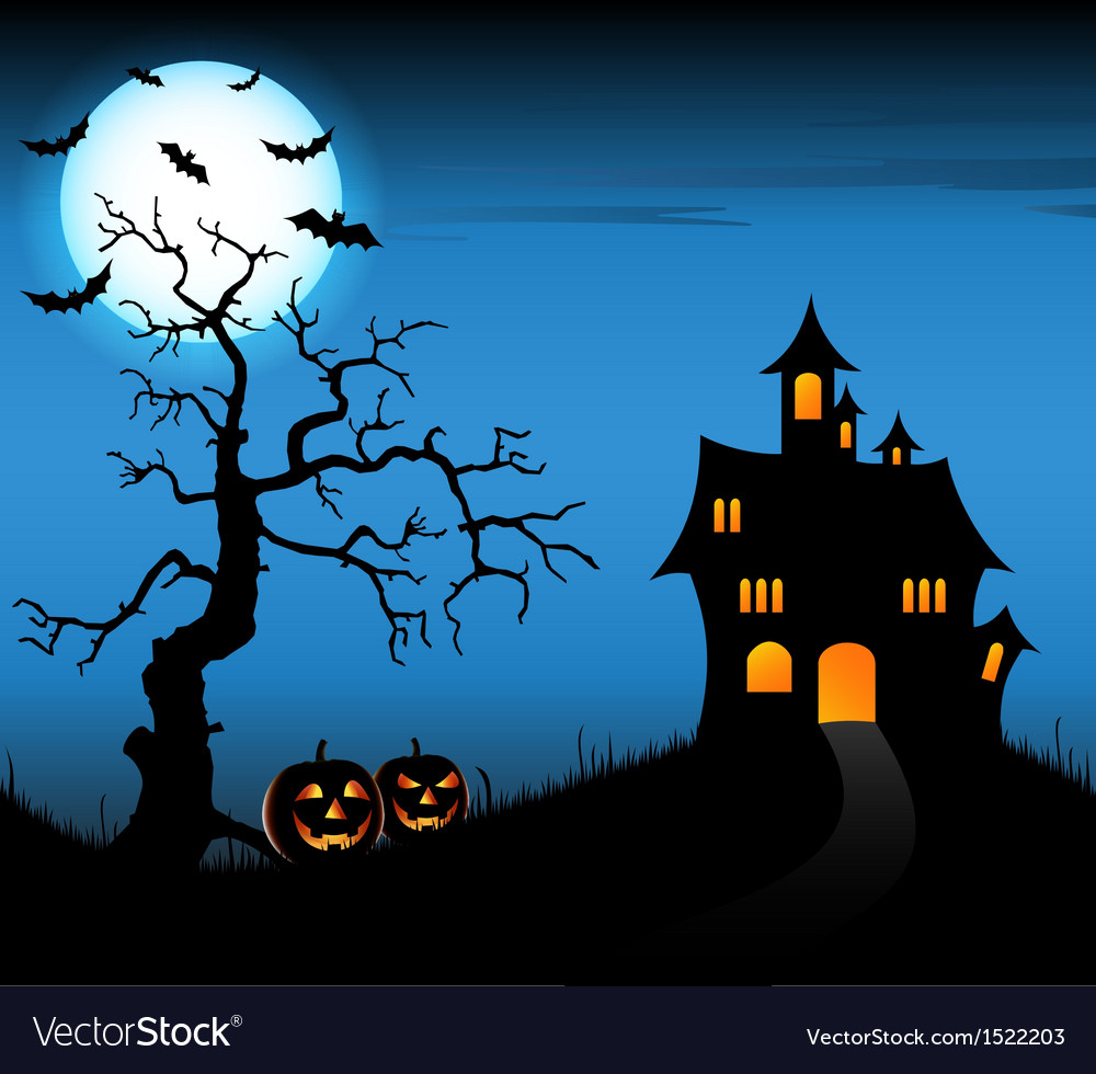 Halloween night background with castle and vector | Price: 3 Credit (USD $3)