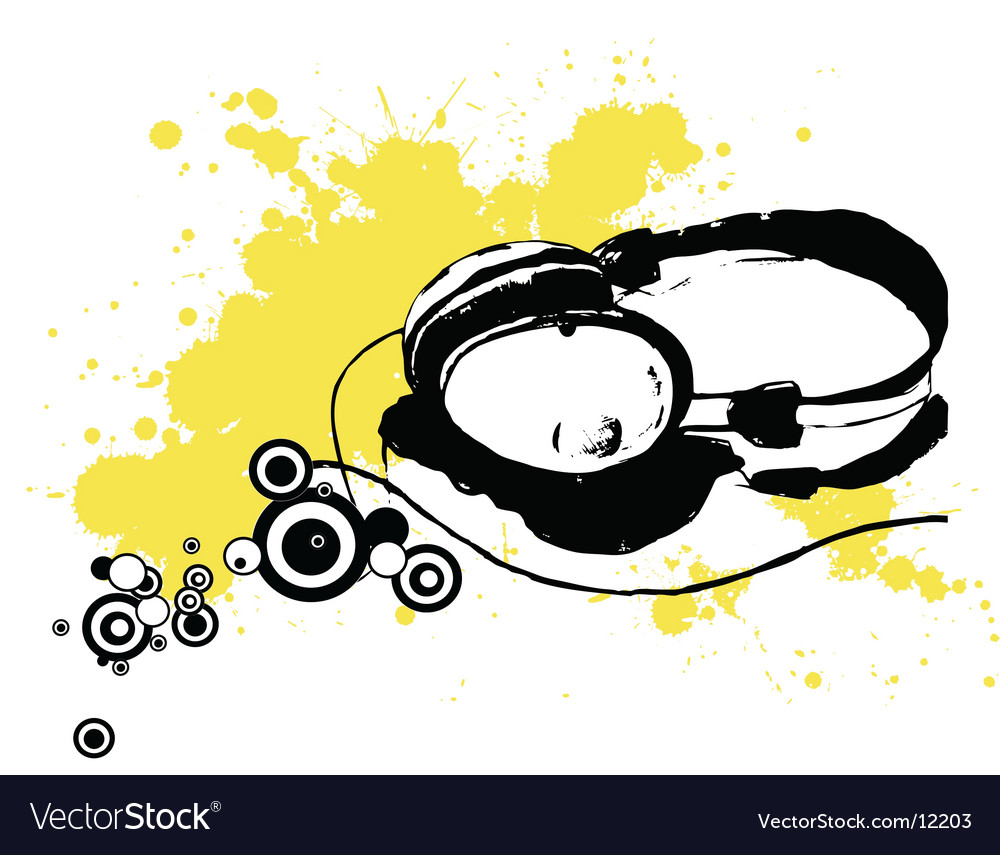 Ink drawn headphones vector | Price: 1 Credit (USD $1)