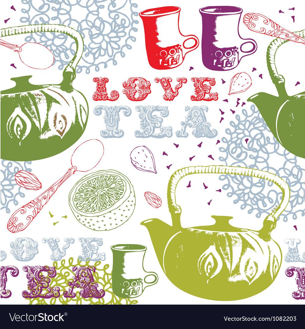 Love tea pattern vector | Price: 1 Credit (USD $1)