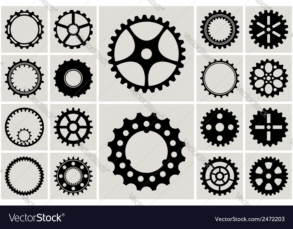 Mechanical cogs and gear wheel set vector | Price: 1 Credit (USD $1)