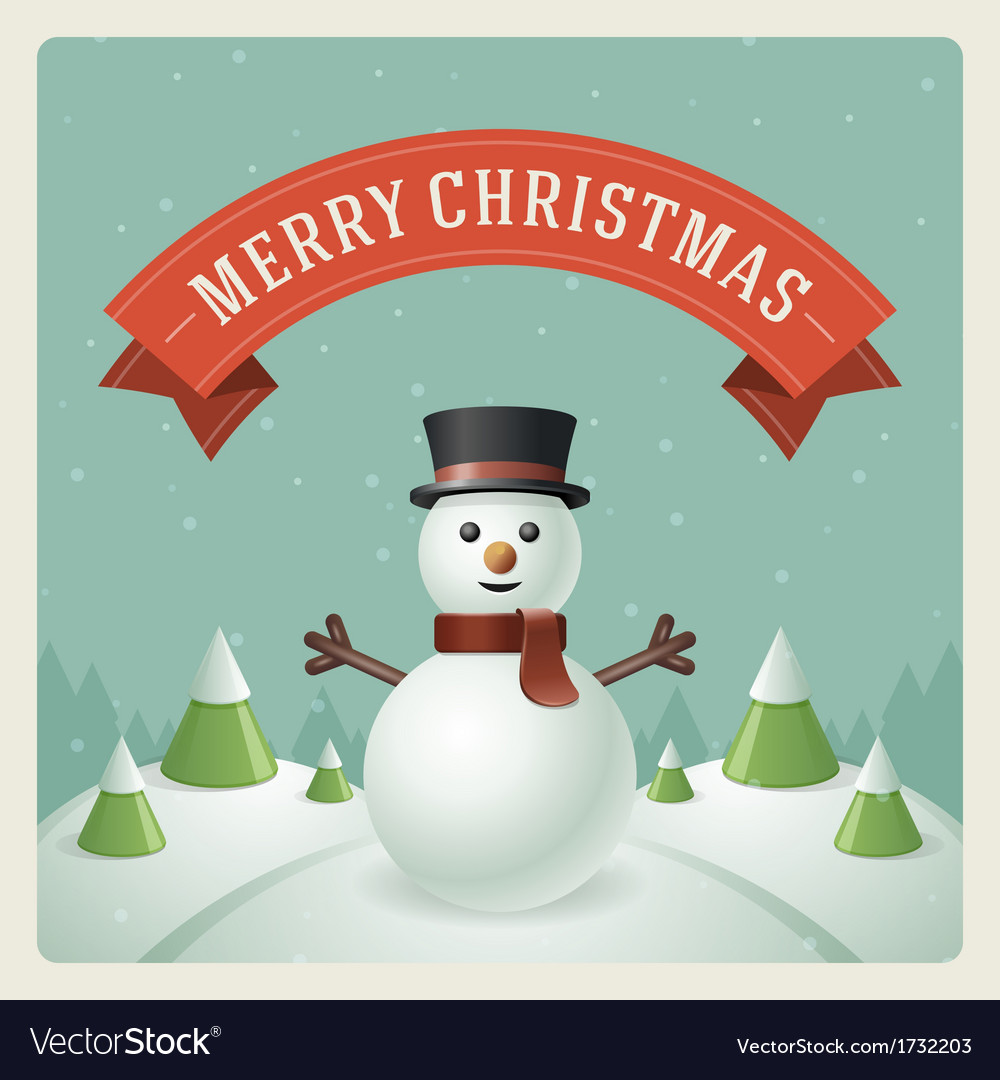 Merry christmas greeting card with snowman vector | Price: 3 Credit (USD $3)