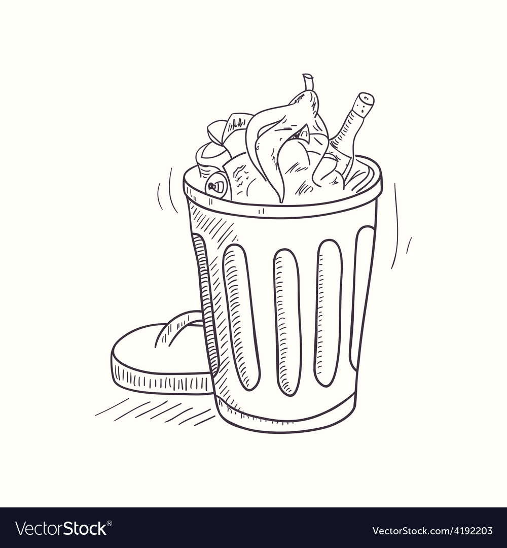 Sketched full trash bin desktop icon vector | Price: 1 Credit (USD $1)
